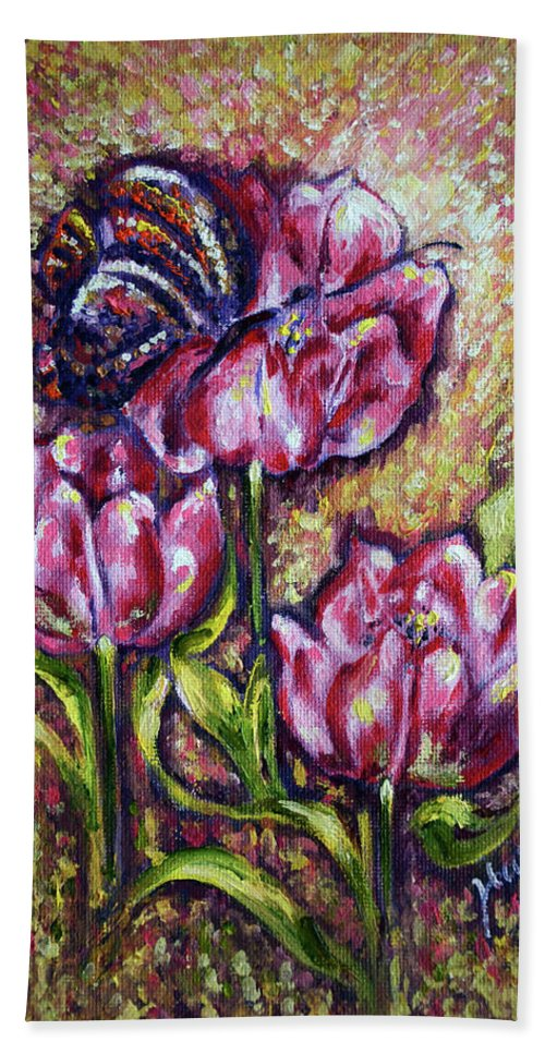Blossom Beach Towel featuring the painting Blossom by Harsh Malik
