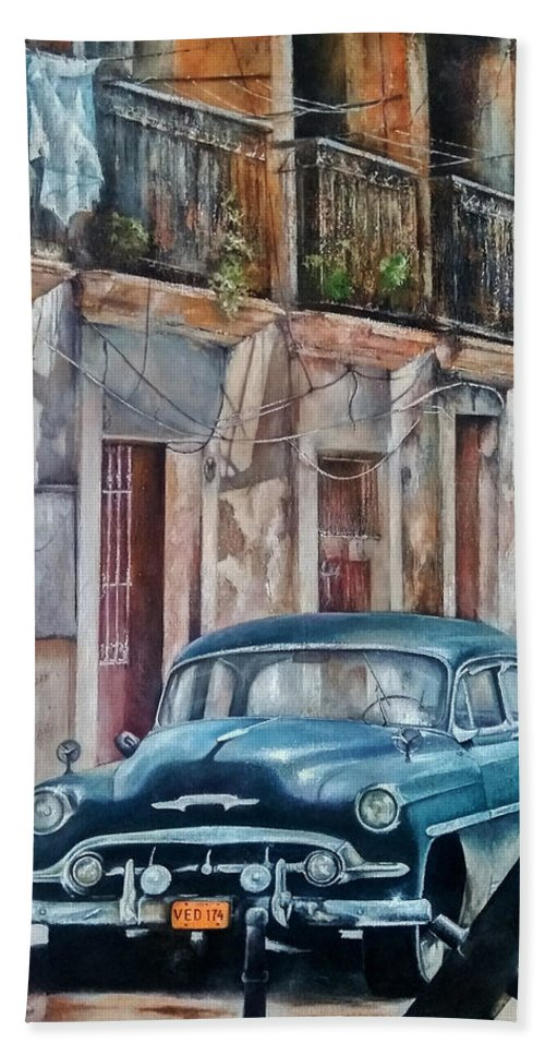 Car Beach Towel featuring the painting Blue car-Old Havana by Tomas Castano