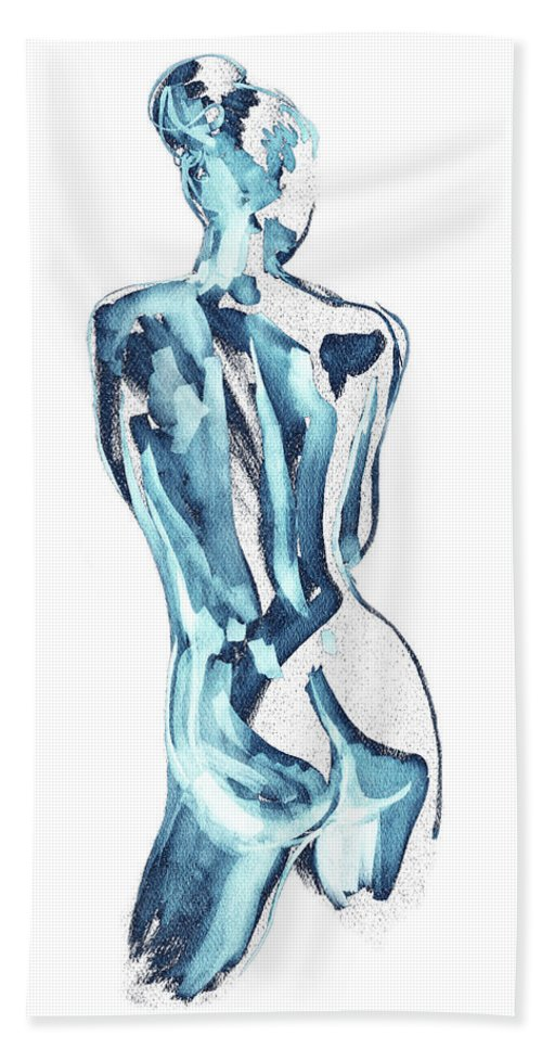 Blue Beach Sheet featuring the painting Blue Nude Woman Model Gesture Watercolor Xxxviii by Irina Sztukowski