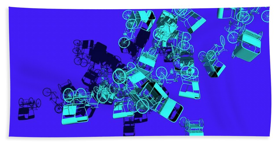 Rickshaw Beach Towel featuring the digital art Blue Rickshaws Flying by Heike Remy