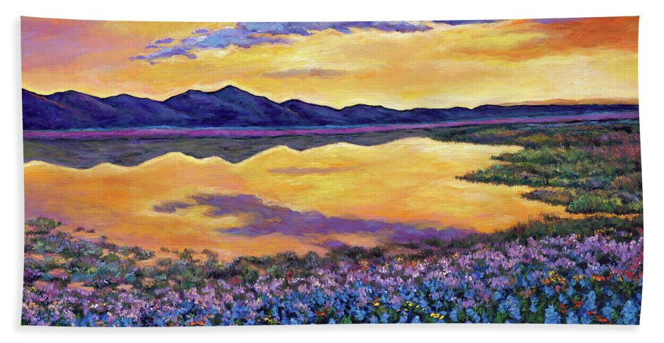 Southwestern Landscape Beach Towel featuring the painting Bluebonnet Rhapsody by Johnathan Harris