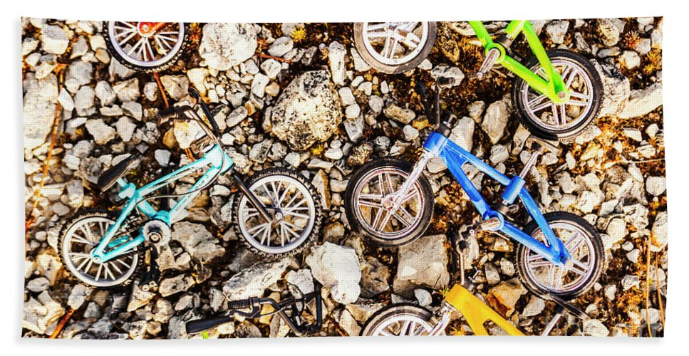 Toy Beach Towel featuring the photograph Bmx Pebble Race by Jorgo Photography - Wall Art Gallery