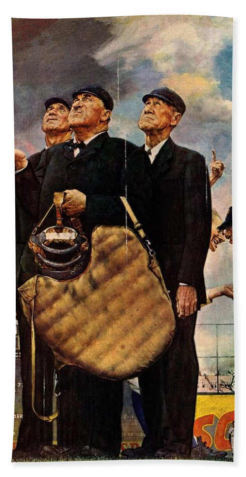 Baseball Beach Towel featuring the drawing Bottom Of The Sixth by Norman Rockwell