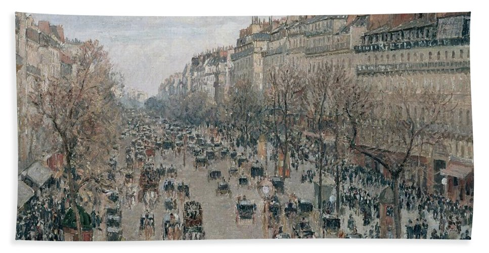 Camille Pissarro Beach Towel featuring the painting Boulevard Montmartre - Afternoon, Sunlight, 1897 by Camille Pissarro