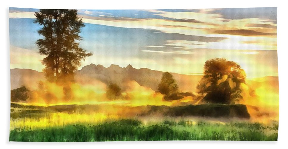 Breaking The Fog Beach Towel featuring the painting Breaking The Fog by Harry Warrick