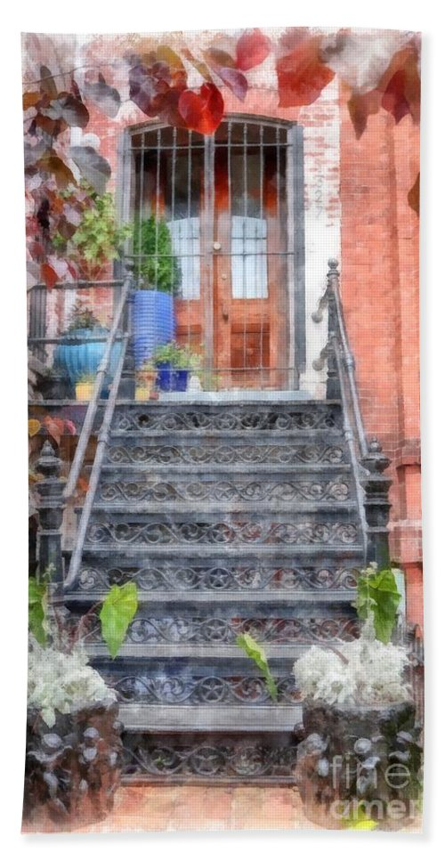 Stairs Beach Towel featuring the digital art Brick Townhouse Walkup Watercolor by Edward Fielding