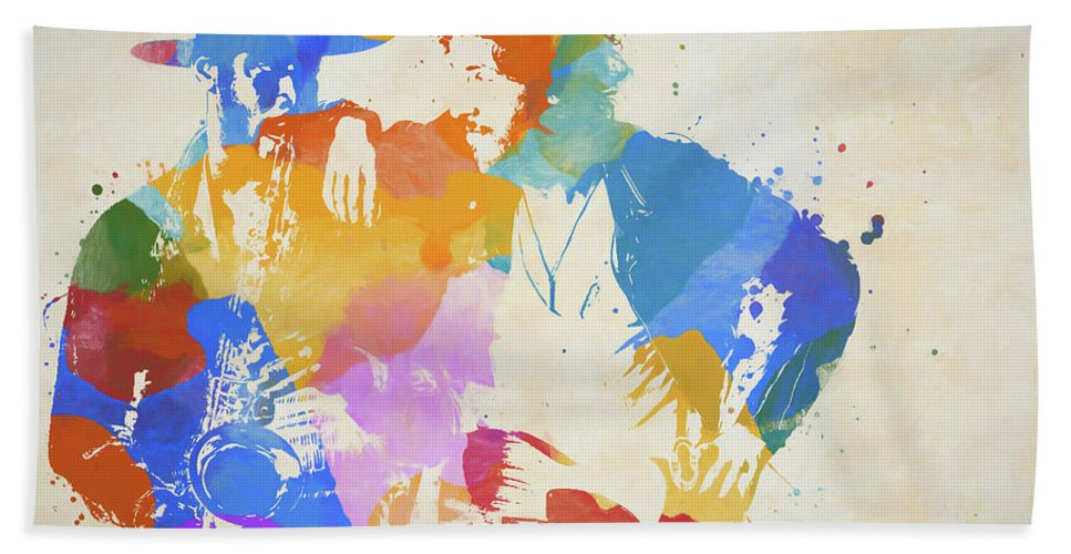 Bruce And The Big Man Beach Towel featuring the painting Bruce And The Big Man Watercolor Splatter by Dan Sproul