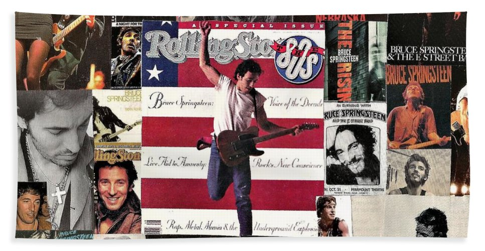 Collage Beach Towel featuring the digital art Bruce Springsteen Collage 1 by Doug Siegel