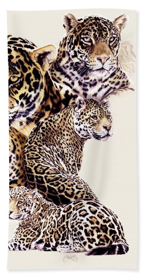 Jaguar Beach Towel featuring the drawing Burn by Barbara Keith