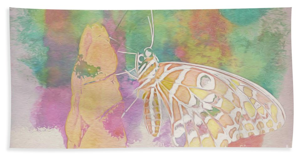 Photographic Camera Art Beach Towel featuring the photograph Butterfly, Watercolor Stylized Desaturated by Banyan Ranch Studios