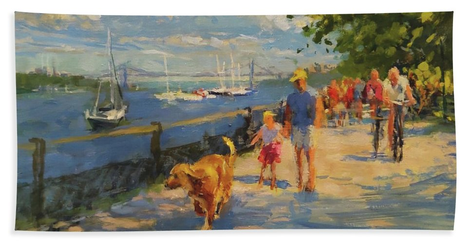 New York Beach Towel featuring the painting By The River, Sunday Morning by Peter Salwen