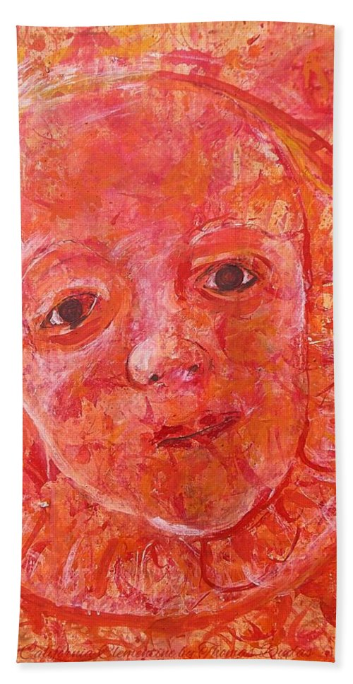 Portrait Over A California Clementine Fruit Impressionism Beach Towel featuring the painting California Clementine by Thomas Dudas