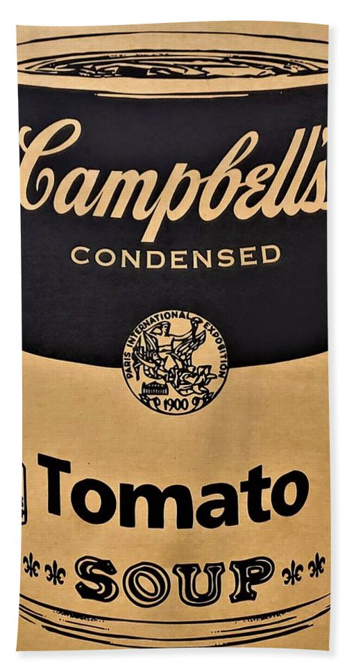 Campbell's Soup Can Beach Towel featuring the photograph Campbell's Soup On Cardboard by Rob Hans