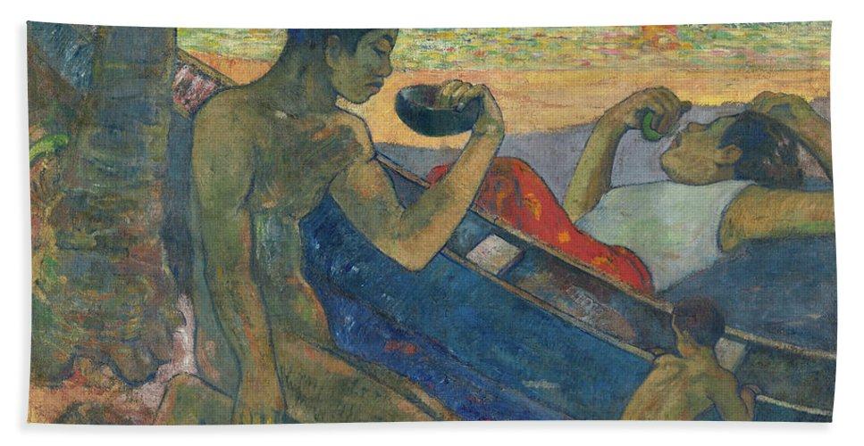 Paul Gauguin Beach Towel featuring the painting Canoe, Tahitian Family, 1896 by Paul Gauguin