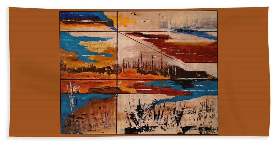 Abstract Beach Towel featuring the painting Catch A Ride To The End Of The Highway by Scott Haley