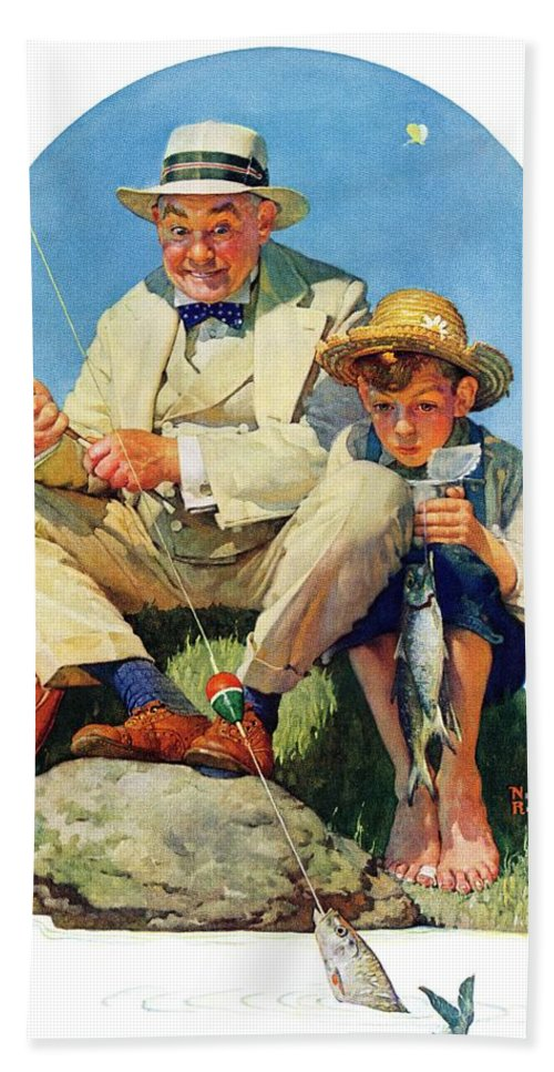 Boy Beach Towel featuring the drawing Catching The Big One by Norman Rockwell