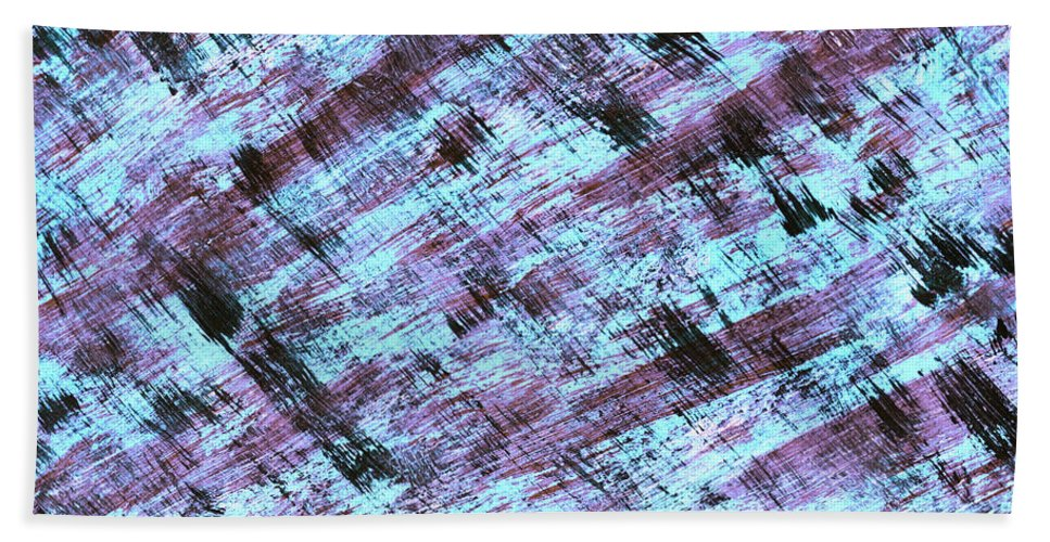 Abstract Beach Towel featuring the painting Cautious 2 by Bella Reyna