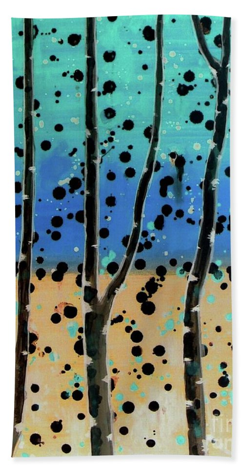 Abstract Beach Towel featuring the painting Celebration - Abstract Landscape by Vesna Antic