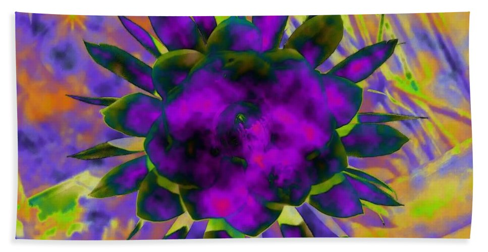 Floral Beach Sheet featuring the digital art Cereusly Solarized by Vallee Johnson