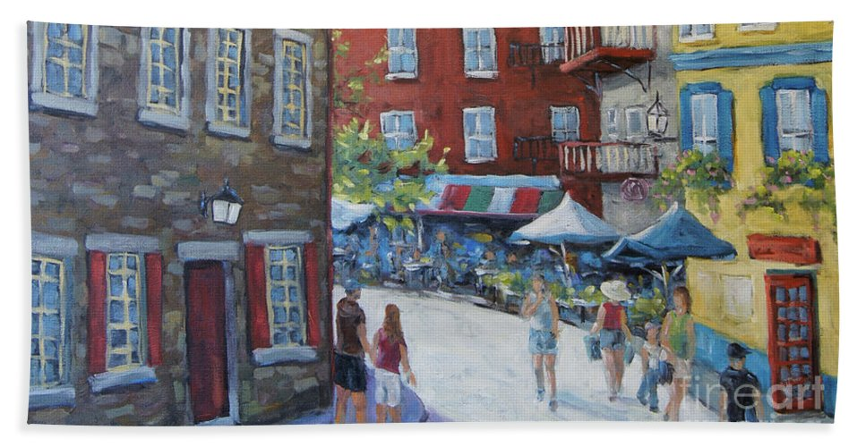 Quebec Historic Cityscape Scene Beach Towel featuring the painting Chateau Frontenac Lower Quebec by Richard Pranke by Richard T Pranke