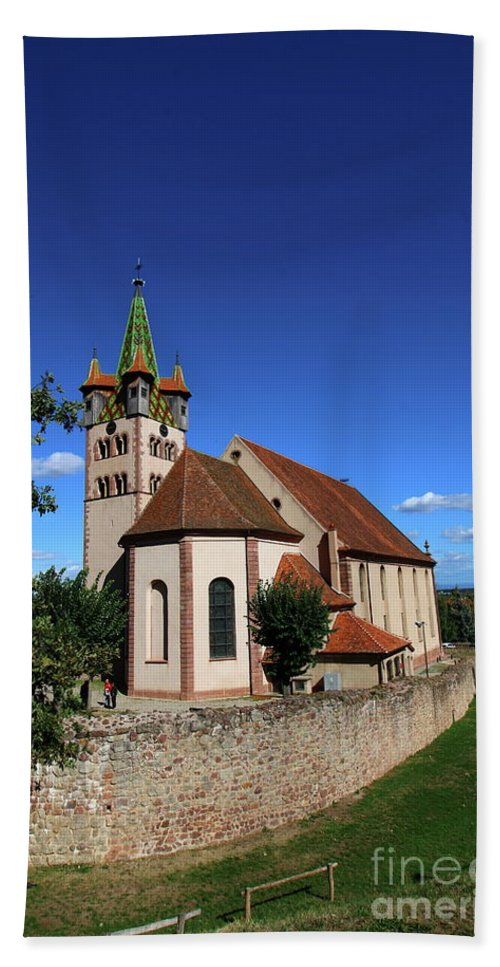 Chatenois Beach Towel featuring the pastel Church St Georges De Chatenois by Christiane Schulze Art And Photography