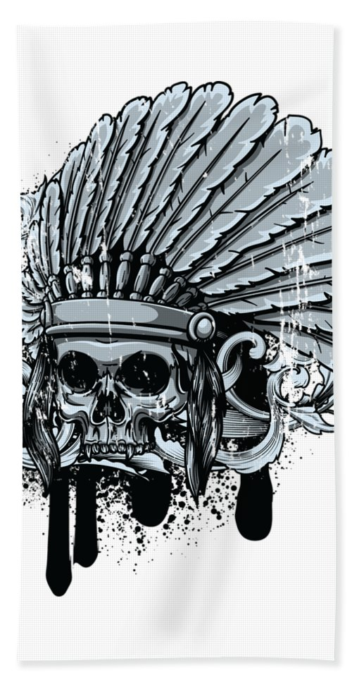 Skull Beach Towel featuring the digital art Chebeya Skull With Headdress by Passion Loft