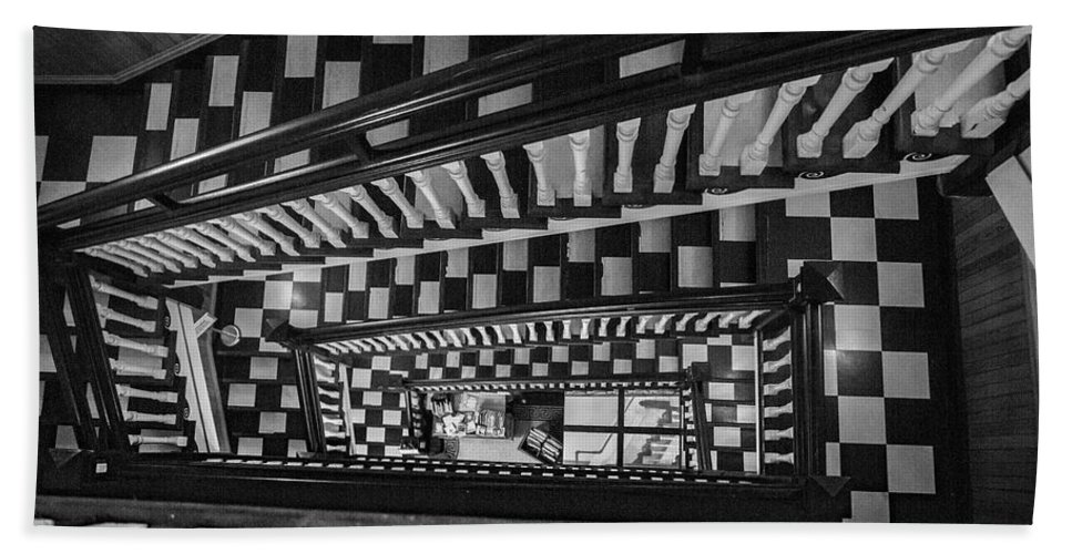 Stairs Beach Towel featuring the photograph Checkerboard Stairs Staunton Virignia by Betsy Knapp
