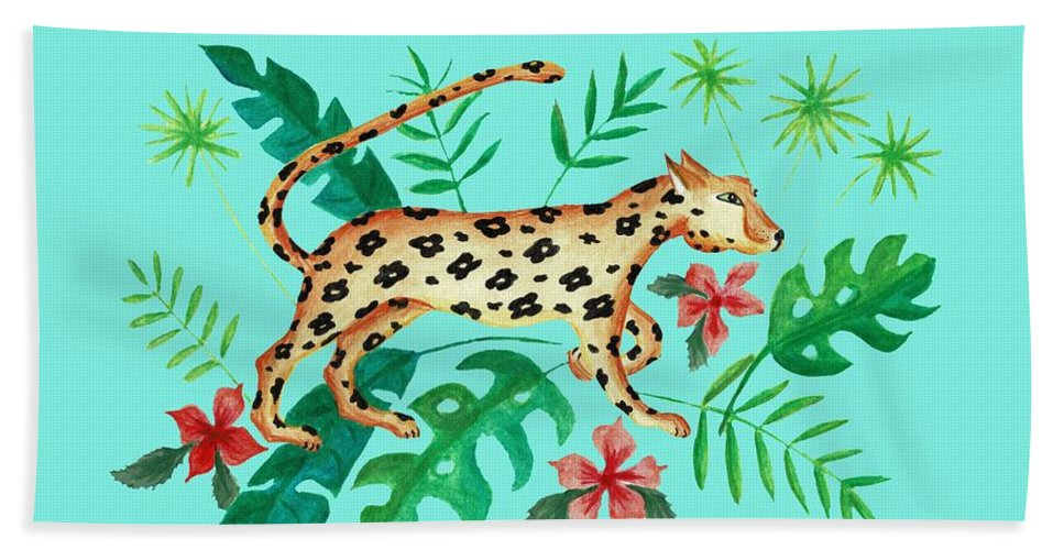 Cheetah Beach Towel featuring the painting Cheetah's Hunt by Janremi B