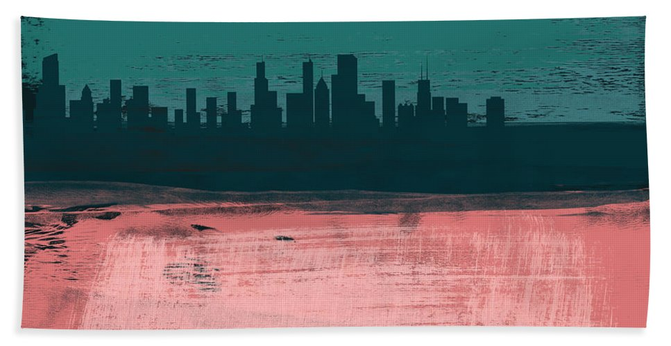 Chicago Beach Towel featuring the mixed media Chicago Abstract Skyline II by Naxart Studio
