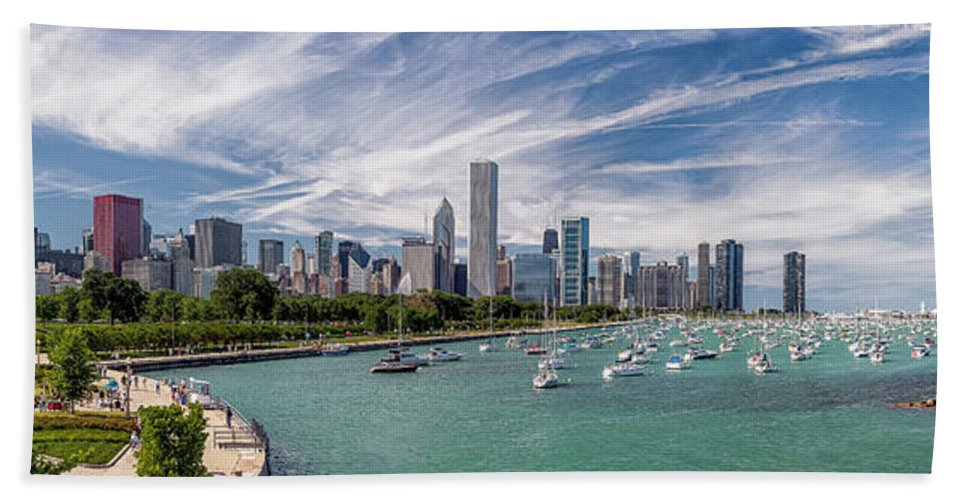 3scape Beach Towel featuring the photograph Chicago Skyline Daytime Panoramic by Adam Romanowicz