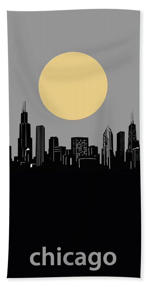 Chicago Skyline Beach Towel featuring the digital art Chicago Skyline Minimalism 2 by Bekim M