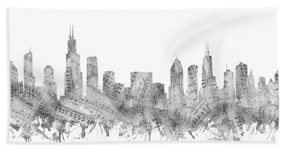Chicago Skyline Beach Towel featuring the digital art Chicago Skyline Music Notes by Bekim M