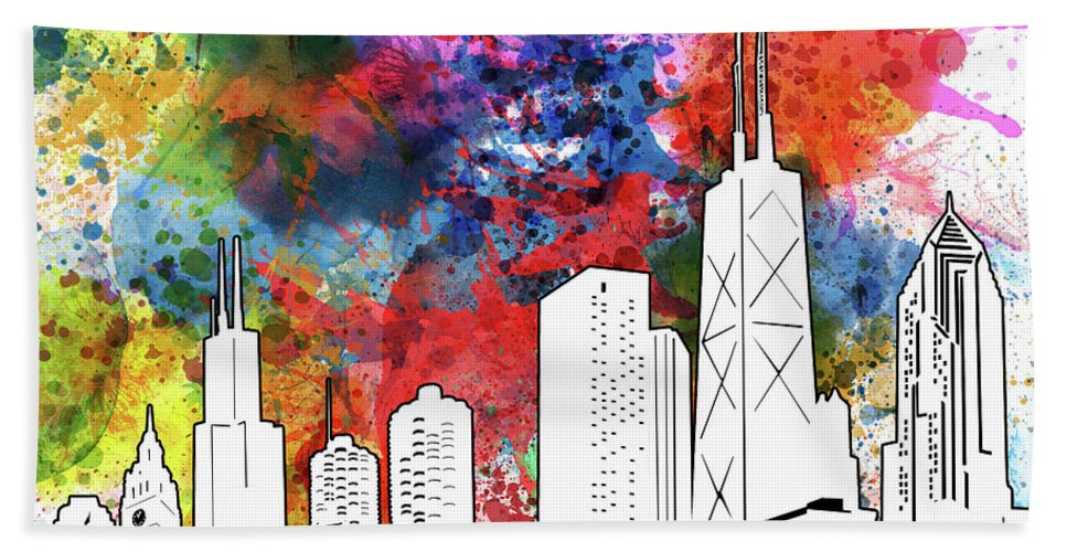 Chicago Skyline Beach Towel featuring the digital art Chicago Skyline Panorama Watercolor by Bekim M