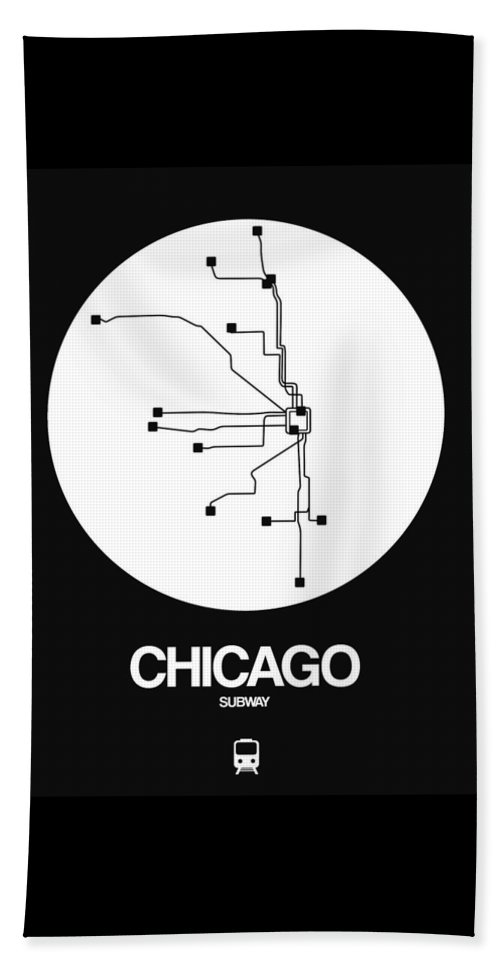 Chicago Beach Towel featuring the digital art Chicago White Subway Map by Naxart Studio