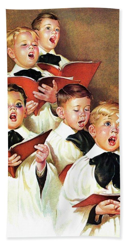 Black Eyes Beach Towel featuring the drawing Choir Boys Will Be Boys by Frances Tipton Hunter