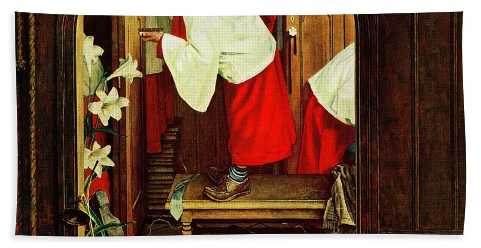 Choirboys Beach Towel featuring the drawing choirboy by Norman Rockwell