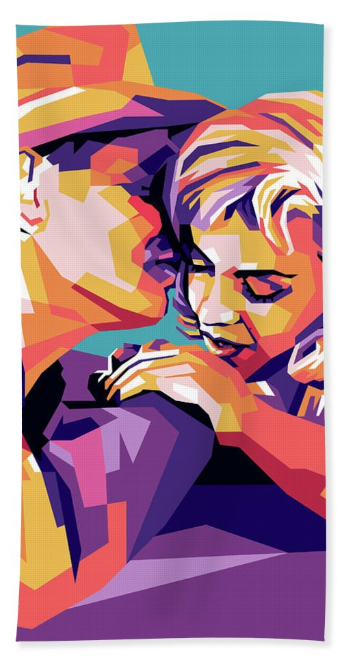 Clark Beach Towel featuring the digital art Clark Gable and Marilyn Monroe by Stars on Art