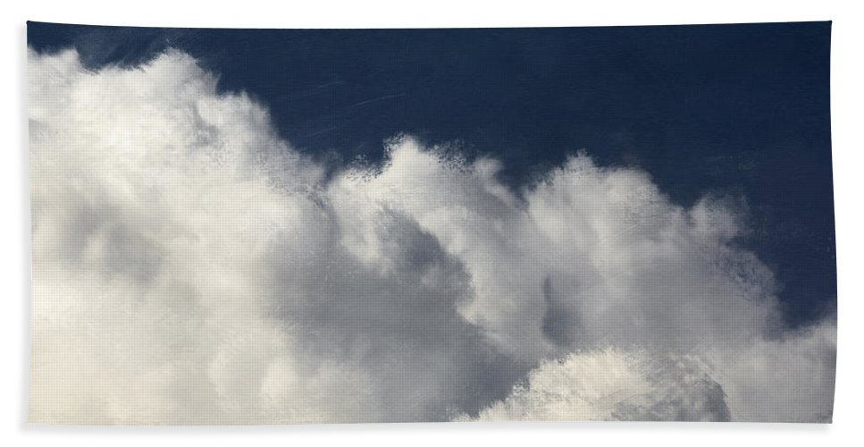 Clouds Beach Towel featuring the mixed media Clouds 5- Art By Linda Woods by Linda Woods
