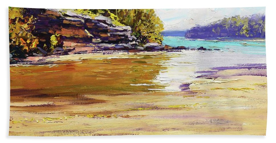 Beach Paintings Beach Towel featuring the painting Collins Beach Sydney by Graham Gercken