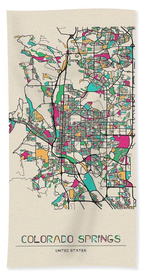 Colorado Springs Beach Towel featuring the digital art Colorado Springs, Colorado City Map by Inspirowl Design