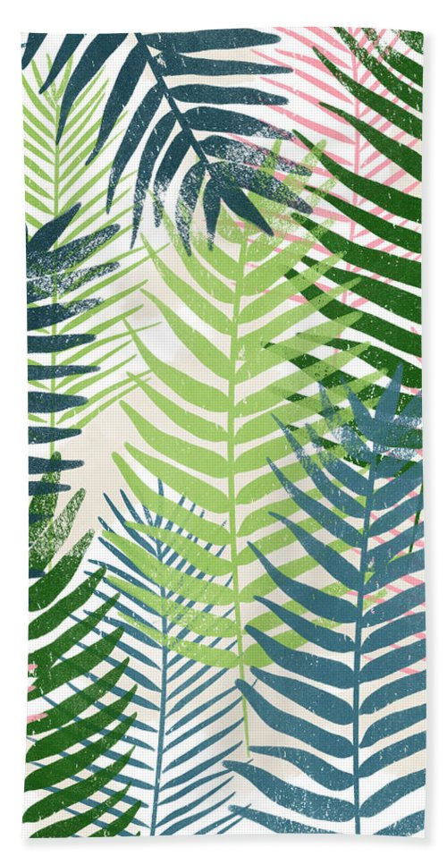 Tropical Beach Towel featuring the mixed media Colorful Palm Leaves 2- Art by Linda Woods by Linda Woods