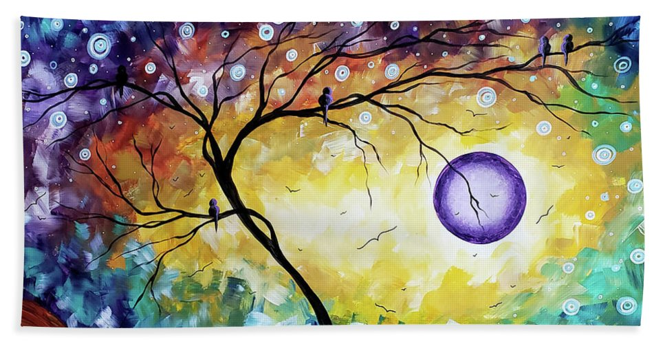 Abstract Beach Towel featuring the painting Colorful Whimsical Original Landscape Tree Painting Purple Reign By Megan Duncanson by Megan Duncanson
