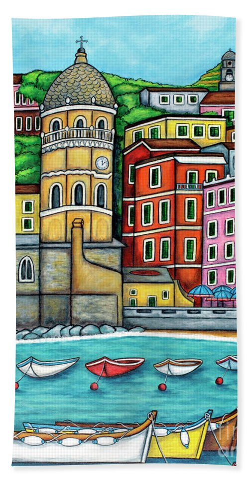 Italy Beach Towel featuring the painting Colours of Vernazza by Lisa Lorenz