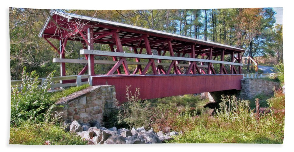 Bedford County Beach Towel featuring the photograph Colvin Covered Bridge by Suzanne Stout