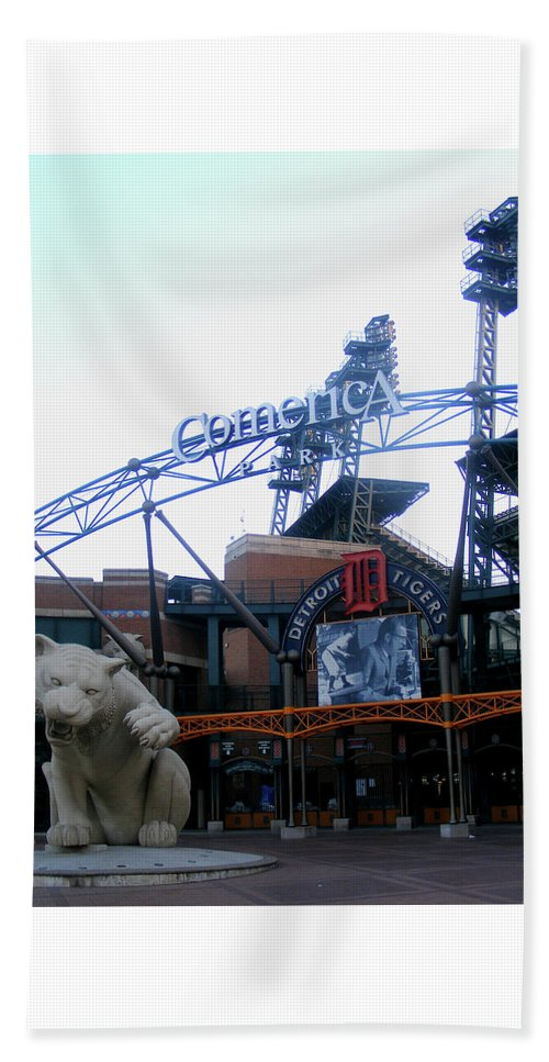 Detroit Tigers Beach Towel featuring the photograph Comerica Park by Crystal Hubbard