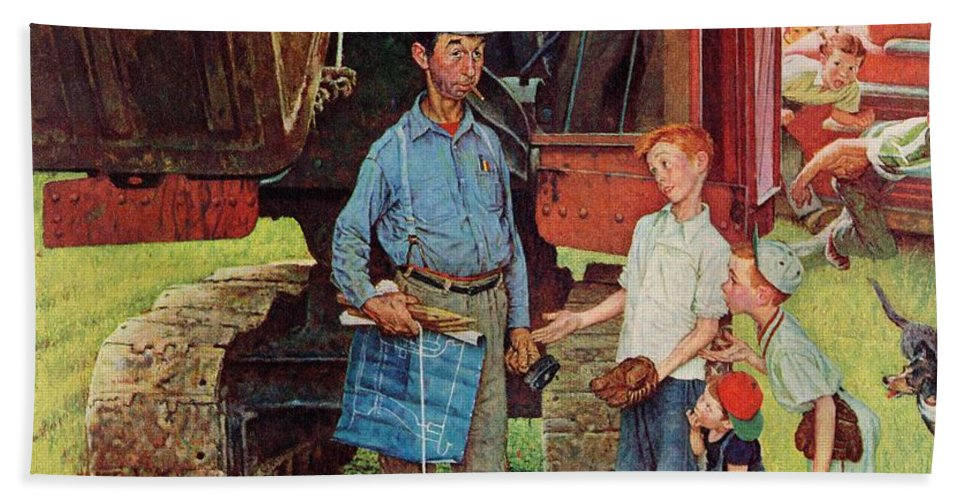 Baseball Beach Towel featuring the drawing Construction Crew by Norman Rockwell