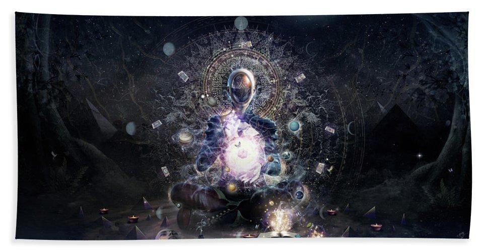 Cameron Gray Beach Towel featuring the digital art Cosmic Ritual by Cameron Gray