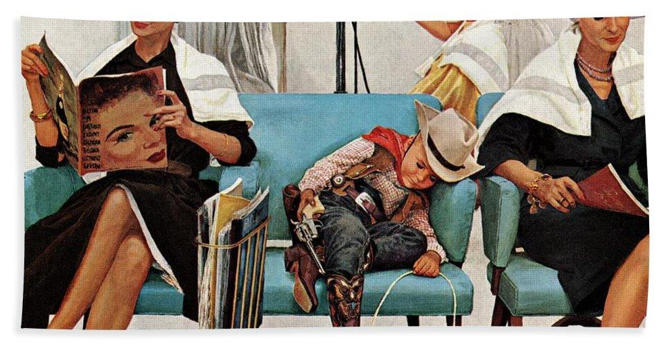 Beauty Shops Beach Towel featuring the drawing Cowboy Asleep In Beauty Salon by Kurt Ard