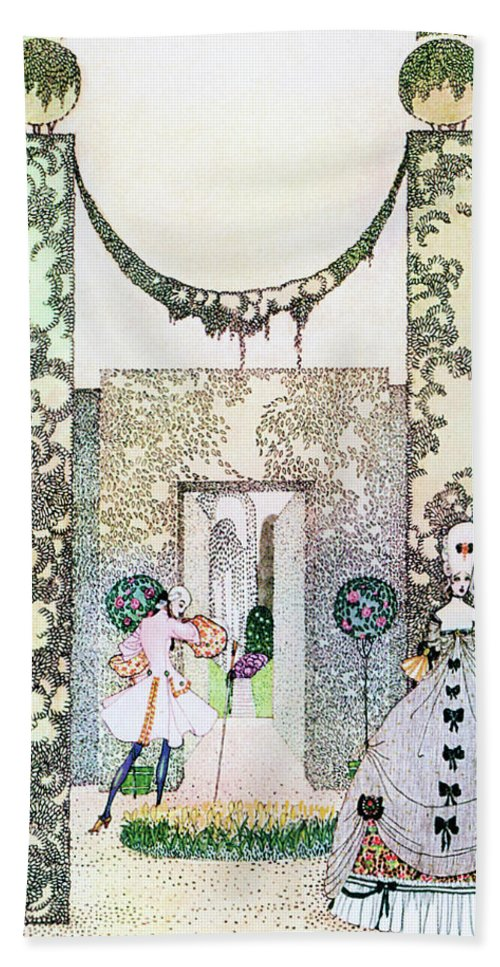 Princess Beach Towel featuring the painting Cupid With Prince Mirrawlow And Court Ladies Who Are Playing In The Garden by Kay Nielsen