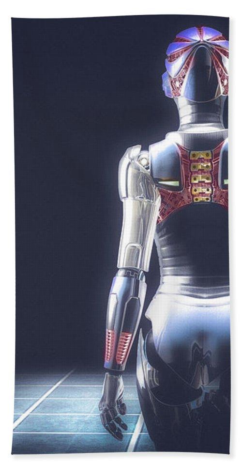 Robot Beach Towel featuring the digital art Dark Hall Two by Bob Orsillo
